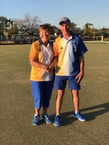 Manning Bowling Club 2020/21 2 Bowl Single Champions Mark Ellis and Anne Crabb