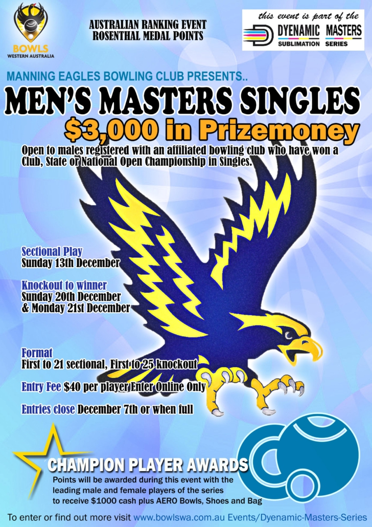 Manning Mens Masters Singles Flyer